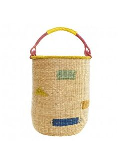 This brightly colored hubba basket is hand-woven with a thick yellow leather strap wrapped around the handle. Basket is extra tall for ultimate storage. Tall Basket, Felt Ball Rug, Modern Nursery Decor, Yellow Leather, African Fabric, Modern Family, Storage Baskets, Laundry Baskets, Straw Bag