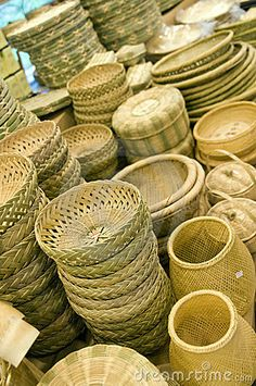 Street market bamboo products for sale in #Damyang, Korea