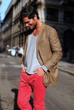 red pants and brown blazer