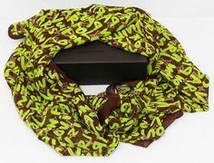 Шелковый шарфик Louis Vuitton коричневый с салатовыми буквами
