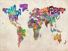 Typographic Text Map of the World Map Art Print 18x24 by artPause, £14.99