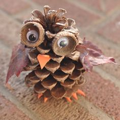 DIY Pinecone Owl by broogly: These adorable pine cone owls are a fun autumn craft for kids of any age. You can combine this craft with a nature hike to find the pine cones, acorn cups and leaves used in the activity. #Kids #Nature_Crafts #Pinec-ne_Owl