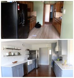 Kitchen remodel- great before and after photos of a complete kitchen remodel! Subway tile backsplash, open shelving, farmhouse sink, etc.