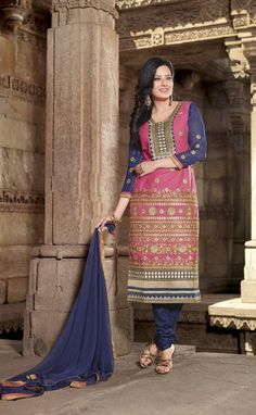 #Pink & #Blue #Cotton #Salwar #Kameez With A Chiffon Dupatta #EID #EIDcollection @mokshafashions