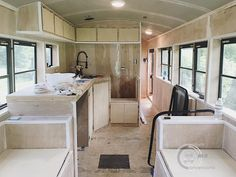 Interior of our schoolbus skoolie conversion, tiny home on wheels (kitchen conversion tiny house) School Bus Tiny House, School Bus House, Kitchen Conversion, School Bus Conversion, Motorhome, Bus Remodel, Converted School Bus, Bus Living, Bus Life