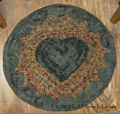 HEART MAT Hooked by Laurie Larsen