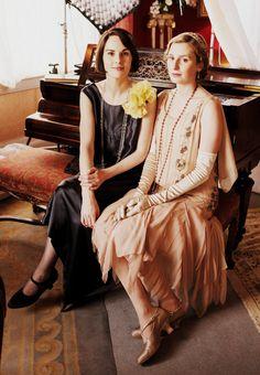 Michelle Dockery  Laura Carmichael as Crawley Sisters