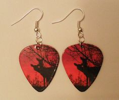 Hot Pink Deer Silhouette guitar pick earrings Country Jewelry on Etsy, $6.00