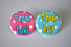 Gender Reveal Buttons Polka Dot Baby Shower Team by PINKTASTIK