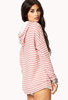 Nautical Striped Hoodie. Just wish she was wearing pants.