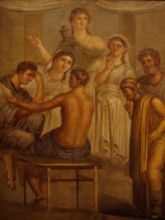 Alcestis and Admetus. Ancient Roman fresco (45-79 d.C.) from the House of the Tragic Poet, Pompeii, Italy. - NAPLES Archaeological Museum