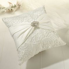 Vintage Cream Lace Ring Pillow available at How Divine ~ www.howdivine.com...