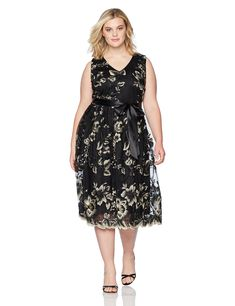 3edb91e2302 S.L. Fashions Women s Plus Size Ebmroidered Lace Tea Length Dress at Amazon  Women s Clothing store