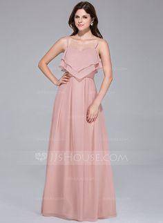 [£ 85.00] Empire Sweetheart Floor-Length Chiffon Bridesmaid Dress With Cascading Ruffles (007025539)