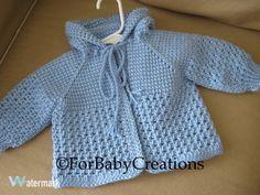 Light Blue Crochet Baby Sweater with Hood for Boy Tunisian