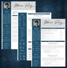 Eye-catching Professional Resume + Cover letter Template Editable for MS Word - Curriculum Vitae - English CV with Fonts included - Resume Cover Letter Template, Cv Template, Letter Templates, Resume Templates, Modern Resume, Professional Resume, Lettering, Words, A4