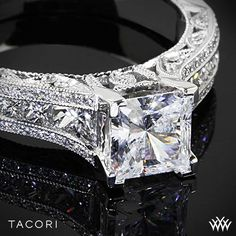 Tacori Classic Crescent Tapered for Princess Diamond Engagement Ring