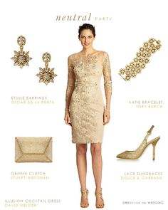 A neutral dress for the mother of the bride. This golden cocktail length dress with long sleeves and rich, golden embroidery is a lovely choice for the mother of the bride or groom to wear in a wedding.