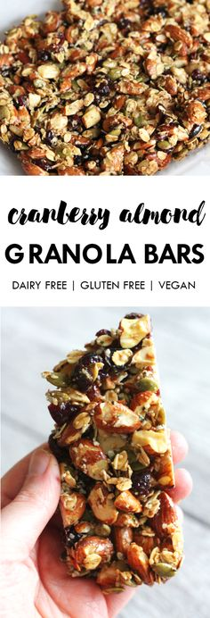 Made with simple and clean ingredients these Cranberry Almond Granola Bars are the perfect on-the-go healthy snack! Dairy free gluten free and vegan. And made with less than 10 ingredients. Dairy Free Recipes, Vegan Recipes, Cooking Recipes, Snack Recipes, Gluten Free, Healthy Bars, Healthy Vegan Snacks, Paleo Diet, Granola Barre