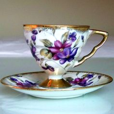 Japanese Tea Cups And Saucers | Purple Tea Cup and Saucer from Royal Sealy Japan