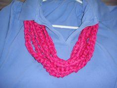 Red+Heart+Sashay+Crochet+Pattern | Items similar to Crochet scarf/necklace with Red Heart Sashay yarn ...