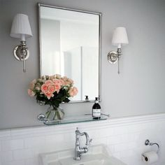 Burlington bathroom mirror in Chrome - rectangular frame - Classic style - Lilly is Love Relaxing Bathroom, Boho Bathroom, Bathroom Wall Decor, White Bathroom, Bathroom Lighting, Bathroom Ideas, Bad Inspiration, Bathroom Inspiration, Burlington Bathroom