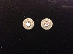 Bullet stud earrings .45 with pink crystal. $15.00, via Etsy.
