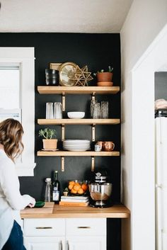 DIY Black and White Kitchen with Butcher Block and Open Shelves #kitchenshelving