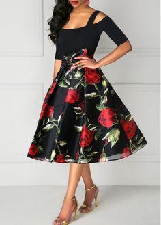 UK Women Casual Floral Dresses Ladies Off Shoulder Midi Dress Plus Size Sexy Dresses, Evening Dresses, Casual Dresses, Fashion Dresses, Summer Dresses, Floral Dresses, Black Dress With Sleeves, Half Sleeve Dresses, Half Sleeves