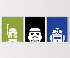 Set of 3 Star Wars prints for your nursery, home, office, or playroom!  Looking for different colors? Check out the color chart and send me a