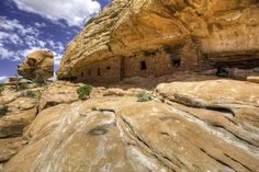 Ancient cliff dwellings blend in with the rocks of Bears Ears National Monument in Utah.