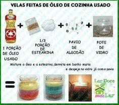 velas feitas de oleo de cozinha usado - Buscar con Google