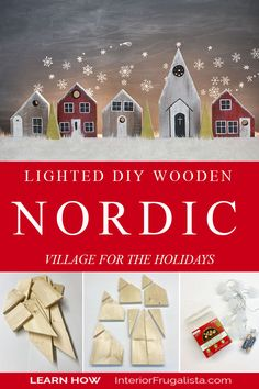 How to make a backlit DIY Wooden Nordic Village for the holidays with scrap wood lumber and dollar store lights. A cheap Christmas decor idea for a fireplace mantel, dining sideboard, top of a dresser, or entryway! #christmasdecorideas #diychristmasdecorations Diy Christmas Lights, Cheap Christmas, Christmas Stuff, Christmas Ideas, Christmas Decorations, Cozy Winter, Winter Holiday, Holiday Ideas, Holiday Decor