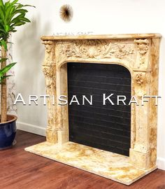 Travertine fireplace mantel Bella Vista is a Rustic French style surround. Travertine gives the beautiful carvings an ancient look. This is a very popular design and the travertine stone selection for this French style is perfect. This is a new hand carved fireplace that is made to look aged or ancient. Find many more French styles on our website. Artisan Kraft has this mantel surround in stock. Home Fireplace, Faux Fireplace, Fireplace Surrounds, Fireplace Design, Fireplace Mantels, Mantel Surround, French Style Homes, Rustic French, French Country