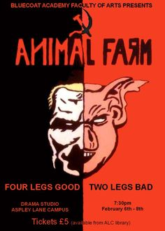 Animal Farm Poster showing half a human head and half a pigs head joined in the middle