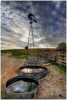 Windmill and Water Tank. I remember this on the farm. Country Life, Country Girls, Country Living, Country Roads, Country Style, Farm Windmill, Old Windmills, Into The West, Ranch Life