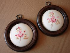Vintage Set of 2 Ceramic Pictures on Wood by BuyBackYesterday
