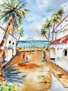 Wall art Print of Playa del Carmen Mexico.  Original watercolor by artist Carlin Blahnik of CarlinArtWatercolor. Buy Original Paintings @ https://CarlinArtWatercolor.etsy.com ~ Buy Prints @ https://carlin-blahnik.pixels.com/
