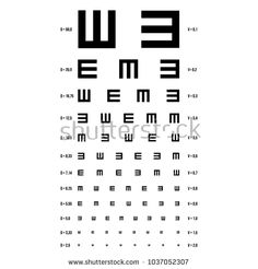 Eye Test Chart Vector. E Chart. Vision Exam. Optometrist Check. Medical Eye Diagnostic. Sight, Eyesight. Ophthalmic Table For Visual Examination. Isolated Illustration