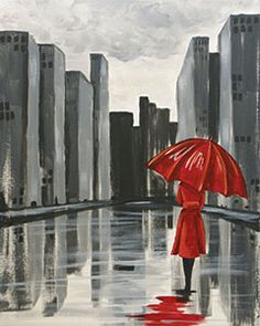 The lady in red looks chic and mysterious as she walks down the deserted city street. Easily change out the color of her coat and umbrella to yellow or blue to match your style. #socialartworking #canvaspainting