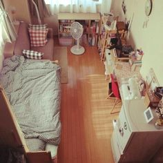 Decor Home Apartment Living Rooms Ideas Small Room Interior, Small Room Bedroom, Bedroom Decor, Teen Bedroom, Japanese Apartment, Deco Studio, Small Room Design, Minimalist Room, Aesthetic Rooms