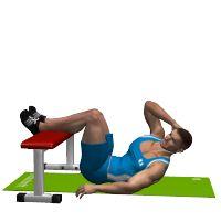 OBLIQUE CRUNCH  LEGS ON FLAT BENCH