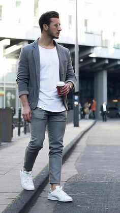 Simple monochrome business casual combo with a white t-shirt gray blazer gray trousers watch silver glasses no show socks adidas white stan smith sneakers. Blazer Outfits Men, Outfits Hombre, Mode Outfits, Trendy Outfits, Mens Fashion Quotes, Blazer With Jeans, Gray Blazer, Business Dress, Traje Casual