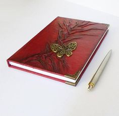 Red Journal Leather Gift for Women Diary Writing Journal Leather Gifts, Red Leather, Christmas Holiday, Holiday Gifts, Abstract Tree Painting, Diary Writing, Butterfly Ornaments, Leather Photo Albums, Leather Diary