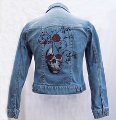 "A controversial little number, ""Tendril Skull 5"" caused a bit of a stir in the comments on FB, but when I showed it everyone loved this hand painted jacket."