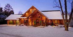 Illinois Log Home Brings Real Log Style to Christmas Decorating ...