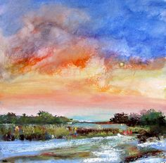 Sparrow Nest Sunset by Eve Miller Pastel ~ 16 x 16
