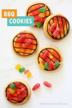 """BBQ GRILL SUMMER COOKIES -- How to decorate easy fun sugar cookies with royal icing to make a """"grill"""" topped with candy """"kebabs"""" and """"hot dogs."""" Great Father's Day gift or dessert! Basic Cookies, Easy Sugar Cookies, Sugar Cookie Dough, Royal Icing Cookies, Fun Cookies, Decorated Cookies, Cake Decorating Store, Cookie Decorating, Decorating Tips"""