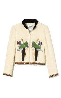 Chanel Ivory Wool Jacket with Abstract Embroidery by Decades Inc. for Preorder on Moda Operandi