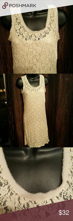 """Daisy Fuentes Pretty Beige Lace Dress. 3/4 lined.  Cut trim. Length 36"""" Bust measures up too 36"""" Daisy Fuentes Dresses Midi"""